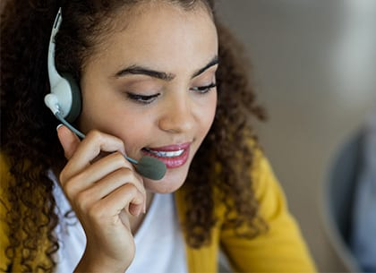 Receptionist talking on a call